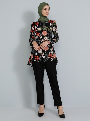 Black - Floral - Crew neck - Tunic