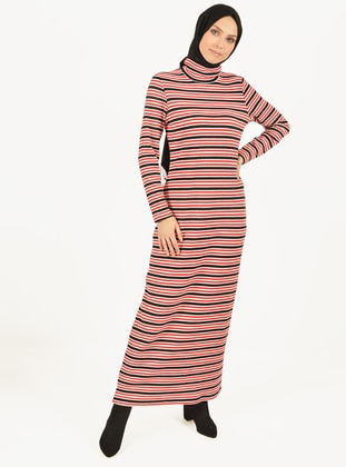 Red - Stripe - Polo neck - Unlined - Viscose - Dress