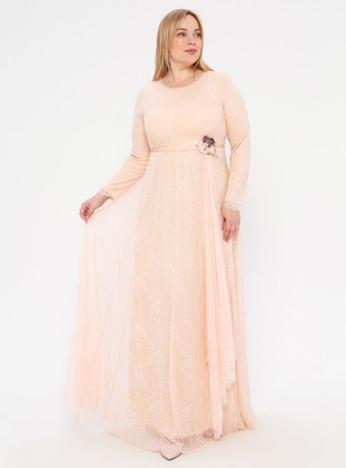 Salmon - Floral - Fully Lined - Crew neck - Muslim Plus Size Evening Dress
