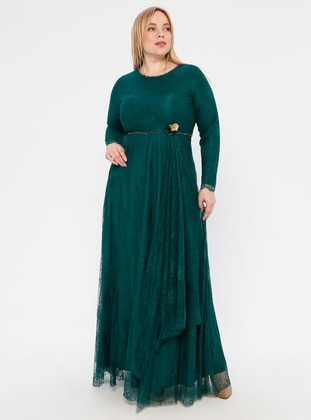 Emerald - Floral - Fully Lined - Crew neck - Muslim Plus Size Evening Dress