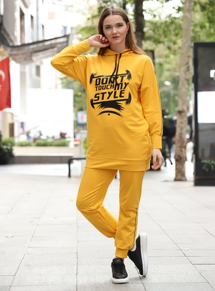Yellow - Unlined - Cotton - Suit
