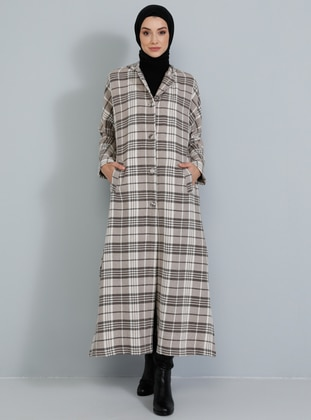 Beige - Plaid - Unlined -  - Topcoat