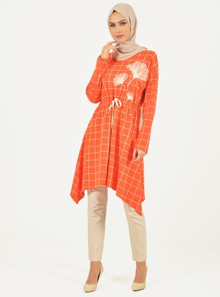 Orange - Checkered - Crew neck - Tunic