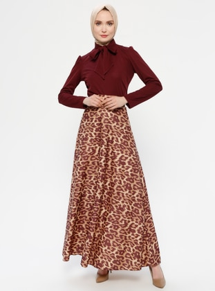 Maroon - Brown - Leopard - Muslim Evening Dress