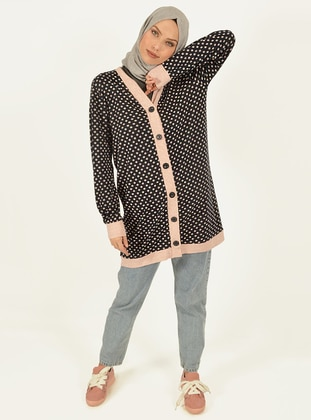 Navy Blue - Polka Dot - V neck Collar -  - Viscose - Tunic