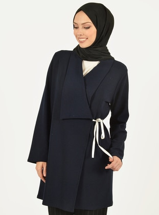 Navy Blue - V neck Collar -  - Viscose - Cardigan