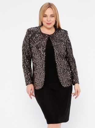 Copper - Black - Crew neck - Fully Lined - Plus Size Suit