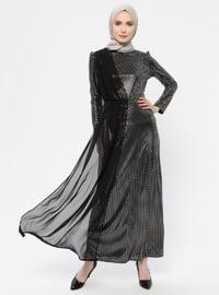 Silver tone - Black - Crew neck - Muslim Evening Dress