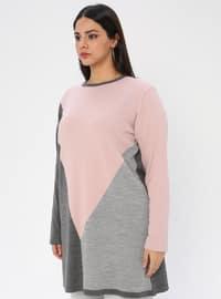 Gray - Crew neck - Acrylic -  - Plus Size Knit Tunics