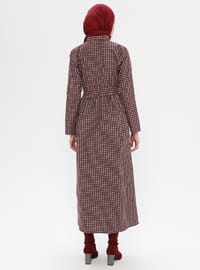 Maroon - Checkered - Point Collar - Unlined -  - Dress