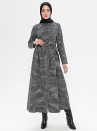 Black - Checkered - Point Collar - Unlined -  - Dress