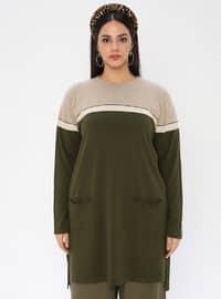 Khaki - Crew neck - Acrylic -  - Plus Size Knit Tunics