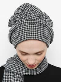 White - Black - Printed - - Instant Scarf