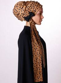 Beige - Polka Dot - Cotton - Viscose - Instant Scarf