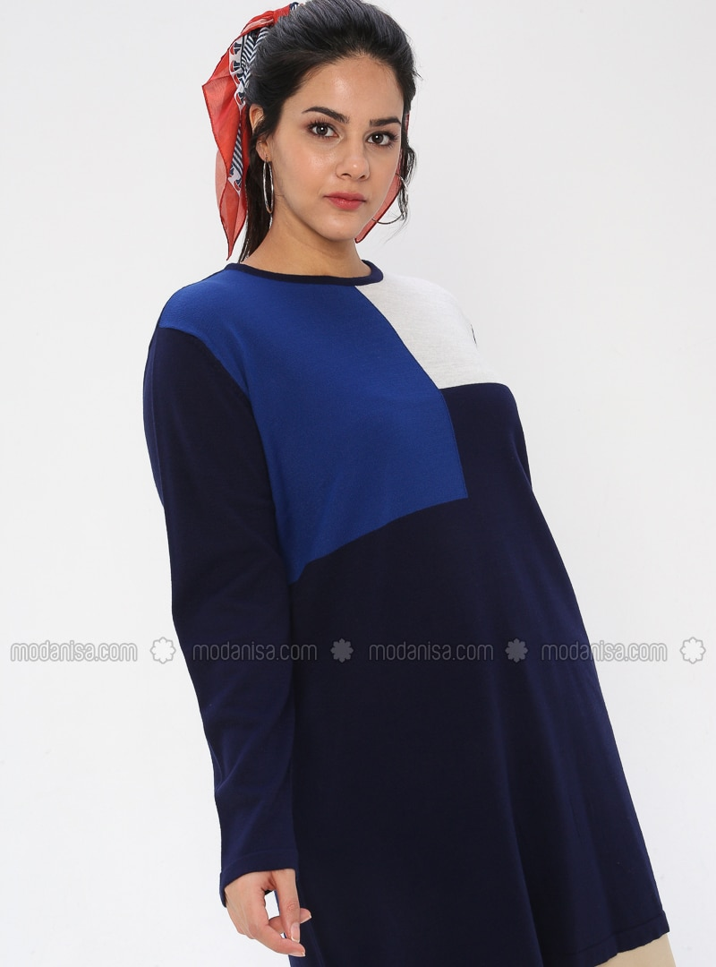 Navy Blue - Crew neck - Acrylic - - Plus Size Knit Tunics