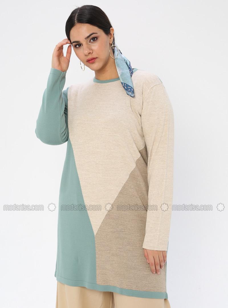 Mint - Crew neck - Acrylic - - Plus Size Tunic
