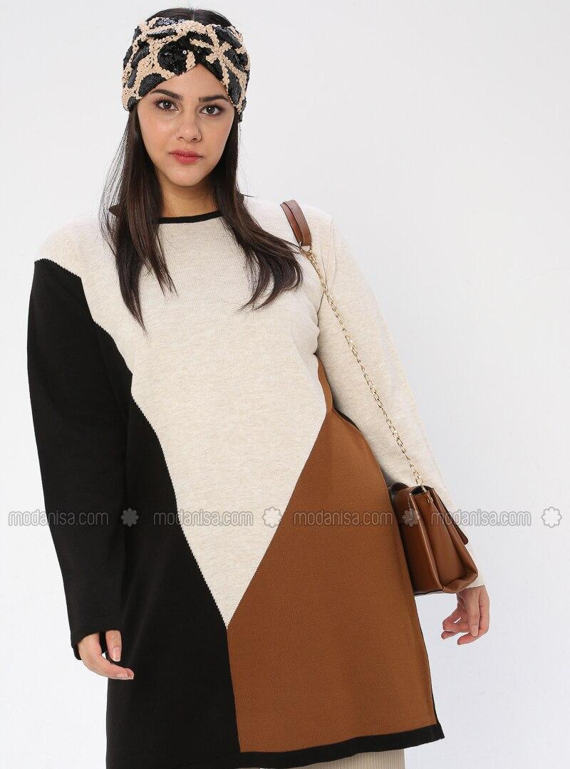 Black - Crew neck - Acrylic -  - Plus Size Knit Tunics