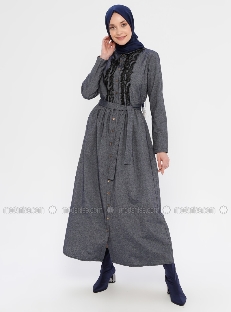 Navy Blue - Point Collar - Unlined - Dress