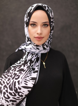 White - Multi - Black - Printed - Shawl - Şal
