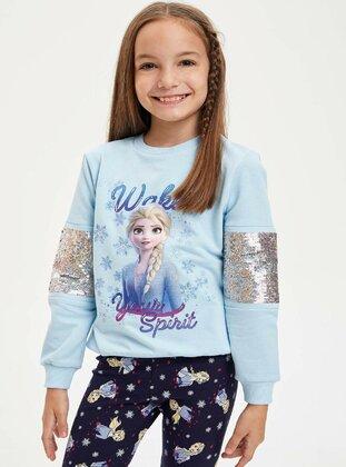 Blue - Girls` Sweatshirt - DeFacto