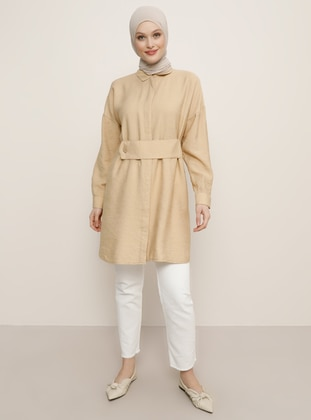 Beige - Point Collar - Viscose - Tunic