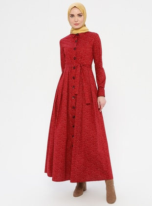 Maroon - Floral - Point Collar - Unlined -  - Dress