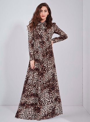 Brown - Leopard - Point Collar - Unlined - - Dress