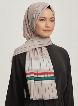 Multi - Striped - Printed - Cotton -  - Shawl -  Şal