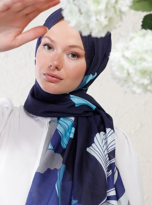Gray - Multi - Blue - Printed - Cotton - - Shawl - Şal