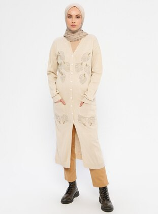 Cream - Acrylic -  - Wool Blend - Knit Cardigans
