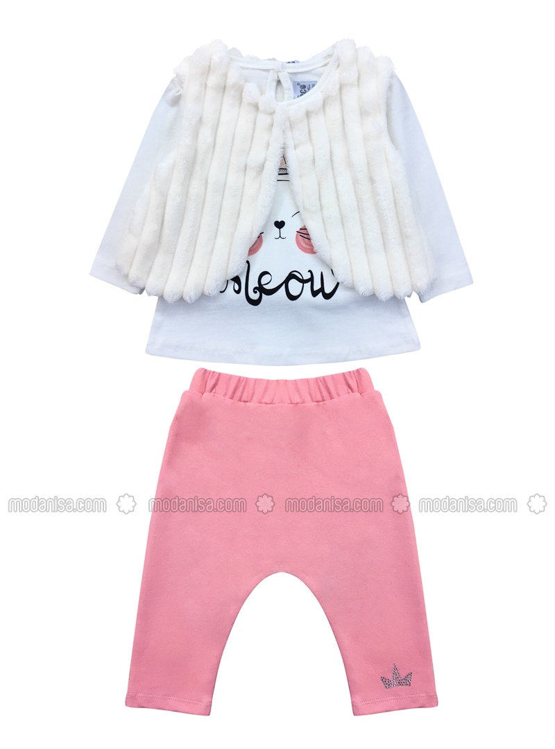 Crew neck -  - White - Cream - Pink - Baby Suit