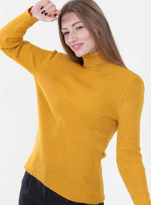 Yellow - Polo neck -  -  - Jumper