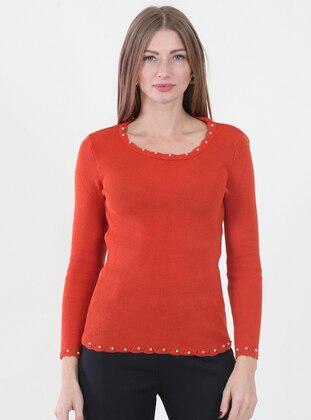 Orange - Crew neck -  -  - Jumper