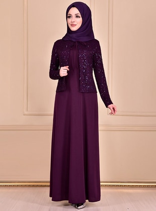 Plum - Unlined - Crew neck - Dress - AYŞE MELEK TASARIM