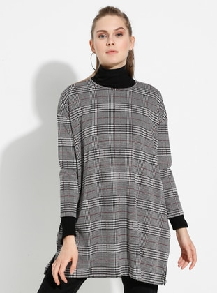 Gray - Multi - Crew neck -  - Tunic