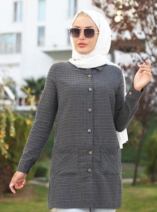 Khaki - Checkered - Point Collar -  - Tunic