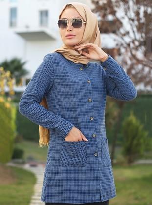 Indigo - Checkered - Point Collar -  - Tunic