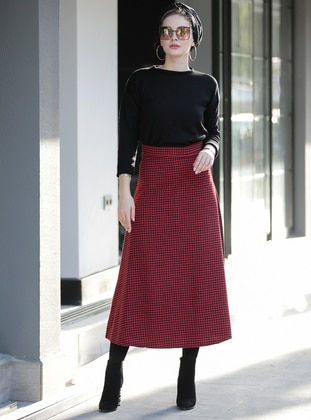 Maroon - Plaid - Unlined -  - Skirt