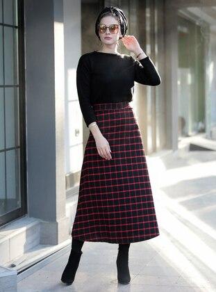 Maroon - Black - Plaid - Unlined -  - Skirt