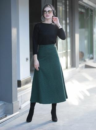 Khaki - Plaid - Unlined -  - Skirt