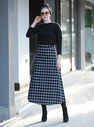 White - Black - Plaid - Unlined -  - Skirt