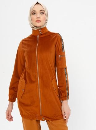 Tan - Unlined - Crew neck - Jacket