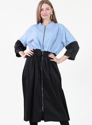 Blue - Crew neck - Fully Lined - Dress
