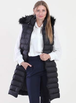 Black - Fully Lined - Polo neck -  - Vest
