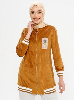 Mustard - Unlined - Crew neck - Jacket