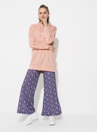 Purple - Floral - Pants