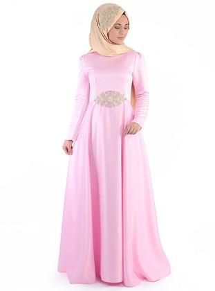 Pink - Unlined - Round Collar - Muslim Evening Dress