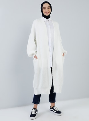 Ecru - Acrylic - Cotton -  - Cardigan