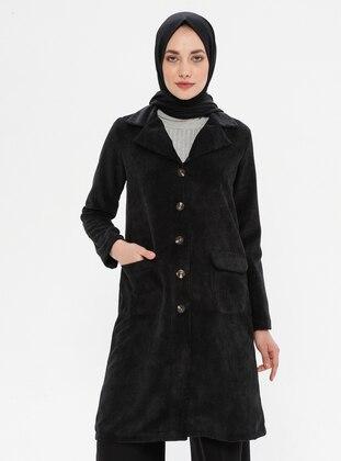 Black - Shawl Collar - Nylon - Tunic