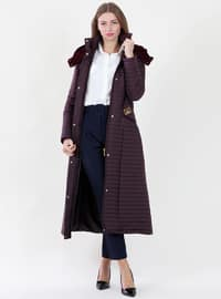 Plum - Fully Lined - Polo neck -  - Coat